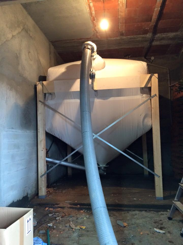 carga pellets silo textil