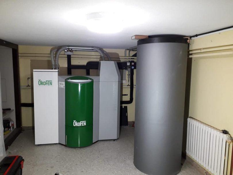 Caldera Pellets Ökofen 32kW instalada en Portosin